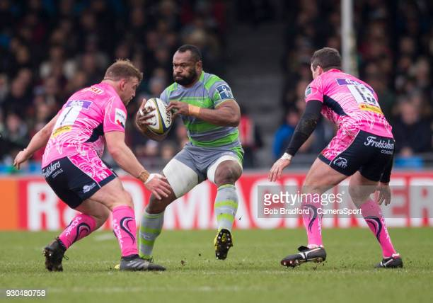 Newcastle Falcons' Vereniki Goneva in action during the Anglo Welsh Cup Semi Final match between Exeter Chiefs and Newcastle Falcons at Sandy Park on...