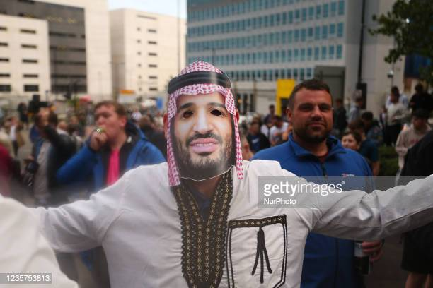Newcastle Fan dressed as Crown Prince Mohammad Bin Salman Scenes at St. James's Park, Newcastle as news of a takeover emerges on Thursday 7th October...