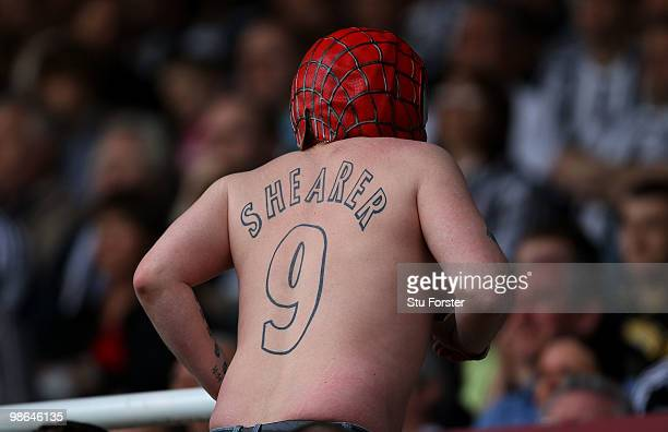 Newcastle fan shows off his spiderman mask and Shearer tatoo during the Coca Cola Championship match between Newcastle United and Ipswich Town at St...