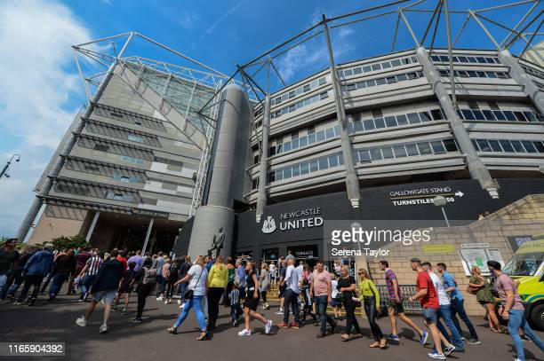 Newcastle fans arrive at St.James' Park for the Pre-Season Friendly match between Newcastle United and Saint-Etienne at St. James Park on August 03,...