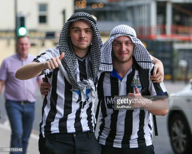 Newcastle Fans don Saudi Arabian head scales ahead of the takeover Scenes at St. James's Park, Newcastle as news of a takeover emerges on Thursday...