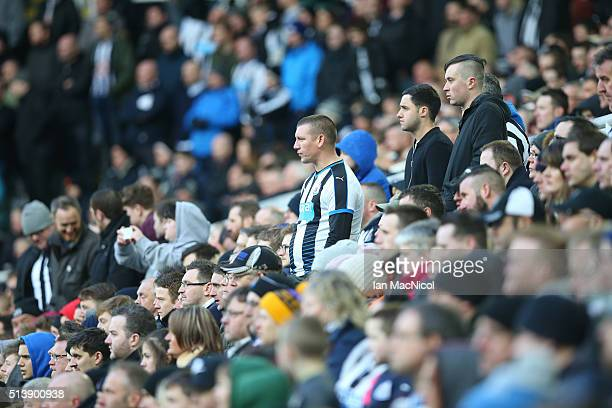 Newcastle fans look on during the Barclays Premier League match between Newcastle United and AFC Bournemouth at St James Park on March 5 2016 in...