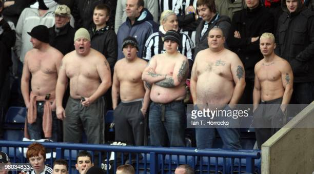 Newcastle fans look on during the fourth round match of The FA Cup sponsored by EON between West Bromwich Albion and Newcastle United at The...