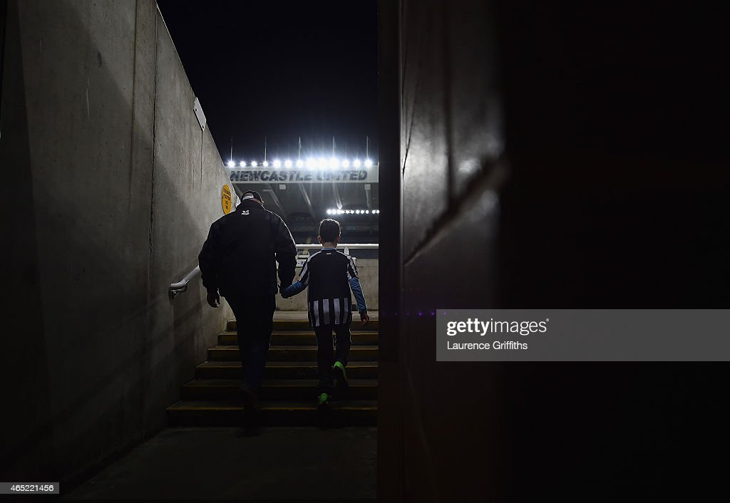 Newcastle fans make their way to their seats prior to the Barclays Premier League match between Newcastle United and Manchester United at St James' Park on March 4, 2015 in Newcastle upon Tyne, England.
