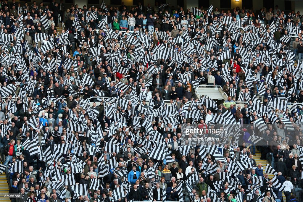 Newcastle fans show their support prior to the Barclays Premier League match between Newcastle United and Middlesbrough at St James' Park on May 11, 2009 in Newcastle, England.