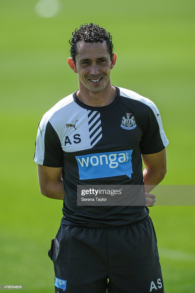 Newcastle Fitness Coach Alessandro Schoenmaker stands on the pitch during the Newcastle United Pre-Season Training session at The Newcastle United Training Centre on July 1, 2015, in Newcastle upon Tyne, England.