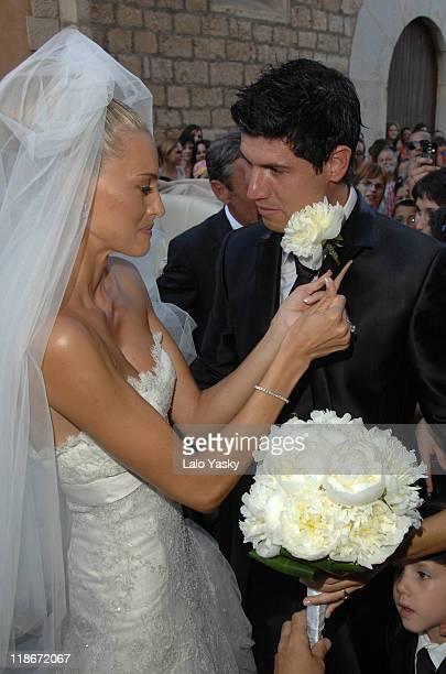 Newcastle Footballer Albert Luque and Model Marta Luna Wedding at Binissalim Church on July 6 2007 in Mallorca Spain