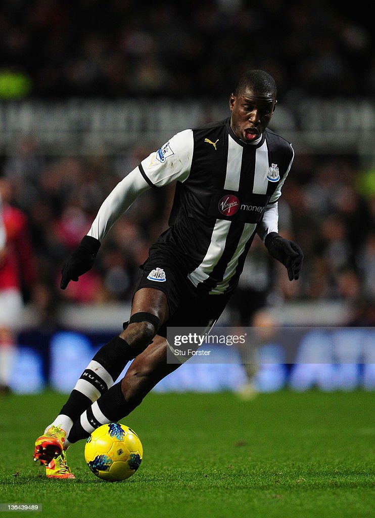 Newcastle forward Demba Ba in action during the Barclays Premier league game between Newcastle United and Manchester United at St James' Park on January 4, 2012 in Newcastle upon Tyne, England.