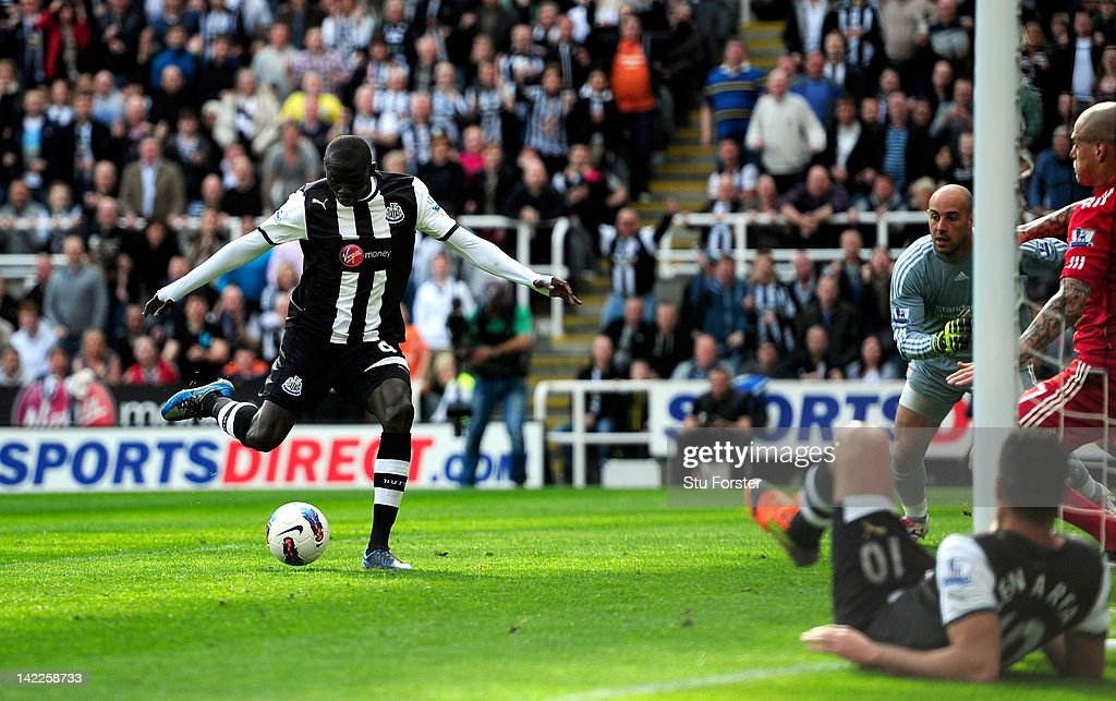 Newcastle forward Papiss Cisse scores the second Newcastle goal during the Barclays Premier League match between Newcastle United and Liverpool at Sports Direct Arena on April 1, 2012 in Newcastle upon Tyne, England.