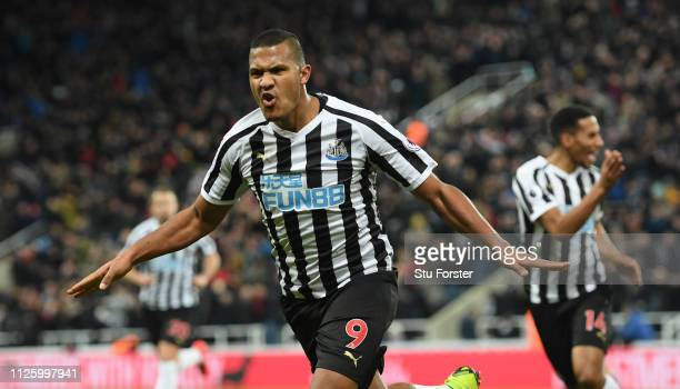 Newcastle forward Salomon Rondon celebrates after scoring the first Newcastle goal during the Premier League match between Newcastle United and...