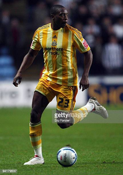 Newcastle forward Shola Ameobi in action during the CocaCola Championship match between Coventry City and Newcastle United at the Ricoh Arena on...