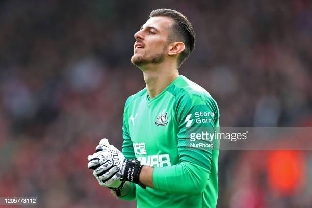 Newcastle goalkeeper Martin Dubravka prays the penalty goes in the other end during the Premier League match between Southampton and Newcastle United...
