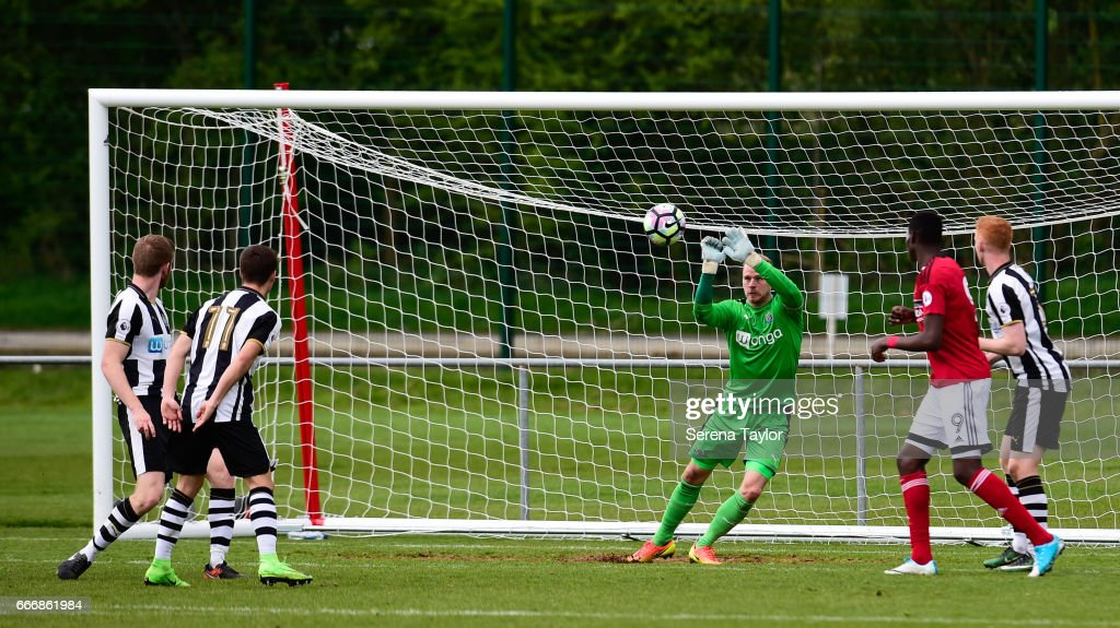 Newcastle Goalkeeper Matz Sels (1) deflects the ball during the Premier League 2 Match between Newcastle United and Fulham at Whitley Park on April 10, 2017 in Newcastle upon Tyne, England.
