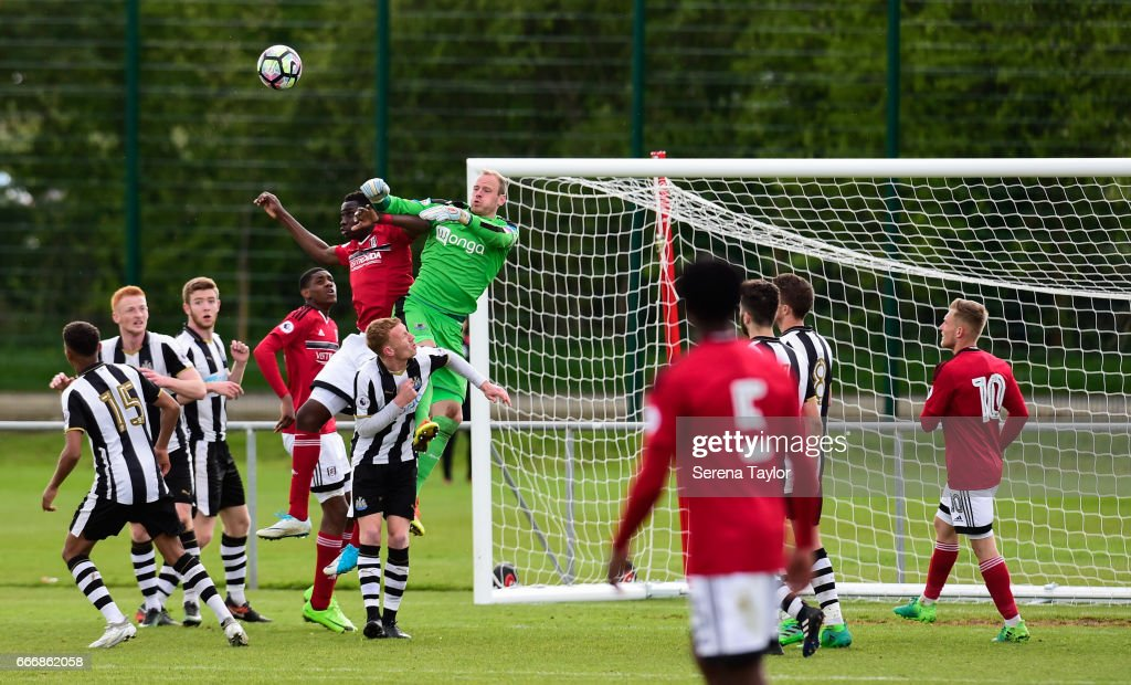Newcastle Goalkeeper Matz Sels (1) jumps in the air to punch the ball away during the Premier League 2 Match between Newcastle United and Fulham at Whitley Park on April 10, 2017 in Newcastle upon Tyne, England.