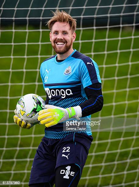Newcastle Goalkeeper Rob Elliot smiles whilst holding the ball as he returns to training at The Newcastle United Training Centre on October 10 2016...