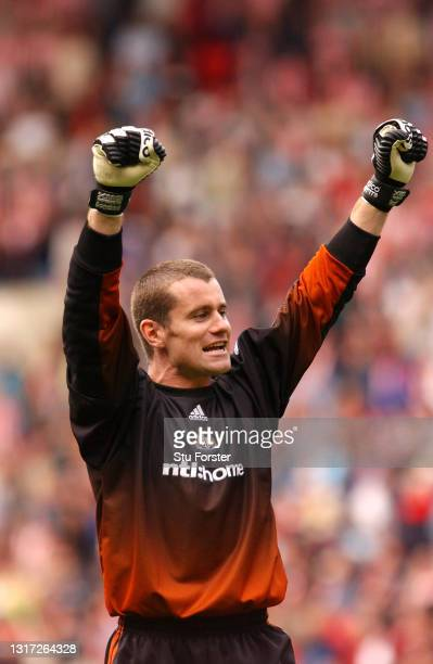 Newcastle goalkeeper Shay Given celebrates to fans during the FA Premier League match between Sunderland and Newcastle United at The Stadium of Light...