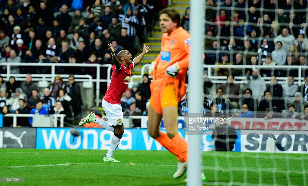 Newcastle goalkeeper Tim Krul reacts as Ashley Young celebrates after scoring the opening goal during the Barclays Premier League match between Newcastle United and Manchester United at St James' Park on March 4, 2015 in Newcastle upon Tyne, England.