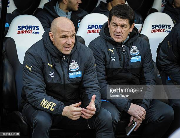 Newcastle Head Coach John Carver sits in the dugouts with First Team Coach Steve Stone during the Barclays Premiership Match between Newcastle United...
