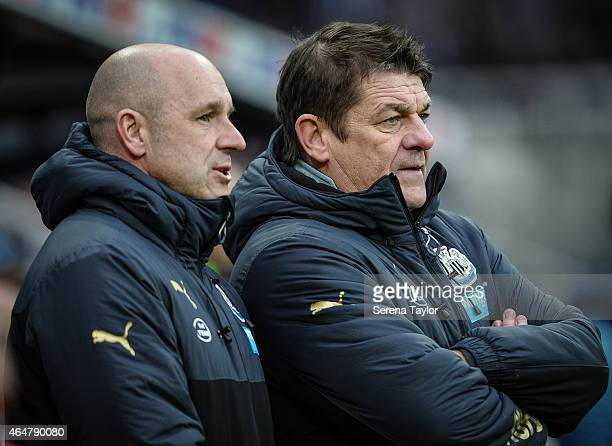 Newcastle Head Coach John Carver with First team coach Steve Stone during the Barclays Premier League Match between Newcastle United and Aston Villa...