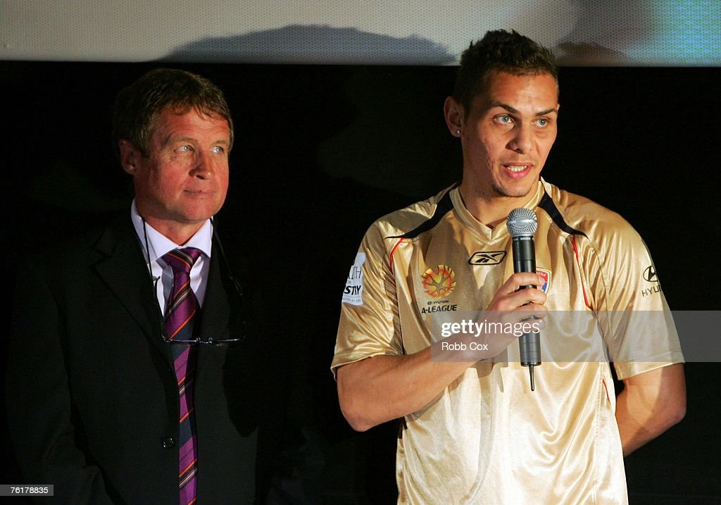 Newcastle Jets coach Gary Van Egmond looks on as Jade North of the Newcastle Jets addresses the audience during the 2007/2008 A-League Season Launch at The Entertainment Quarter on August 20, 2007 in Sydney, Australia.