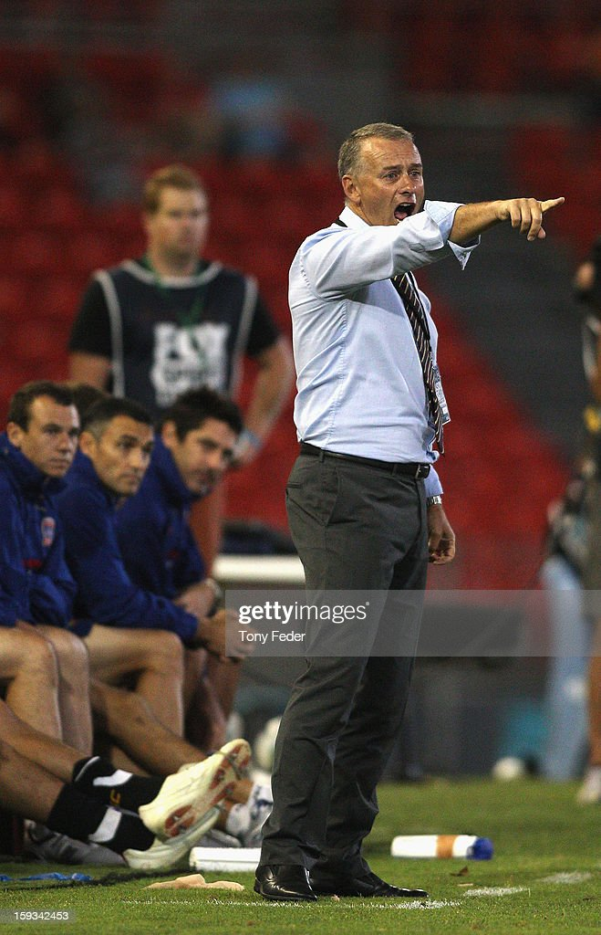 Newcastle Jets coach Gary Van Egmond urges his players on during the round 16 A-League match between the Newcastle Jets and the Brisbane Roar at Hunter Stadium on January 12, 2013 in Newcastle, Australia.