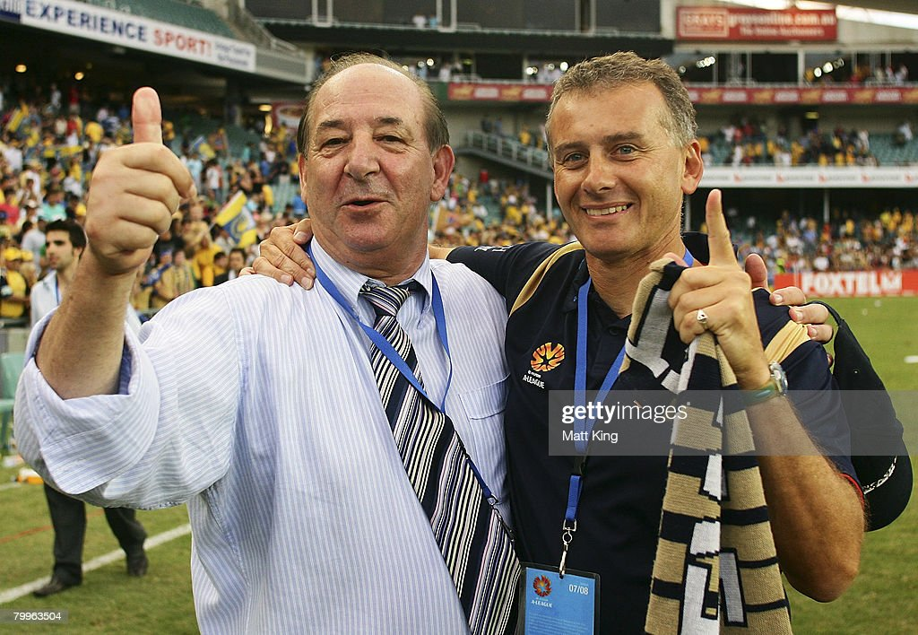Newcastle Jets owner Con Constantine and coach Gary Van Egmond celebrate after the A-League Grand Final match between the Central Coast Mariners and the Newcastle Jets at the Sydney Football Stadium on February 24, 2008 in Sydney, Australia.