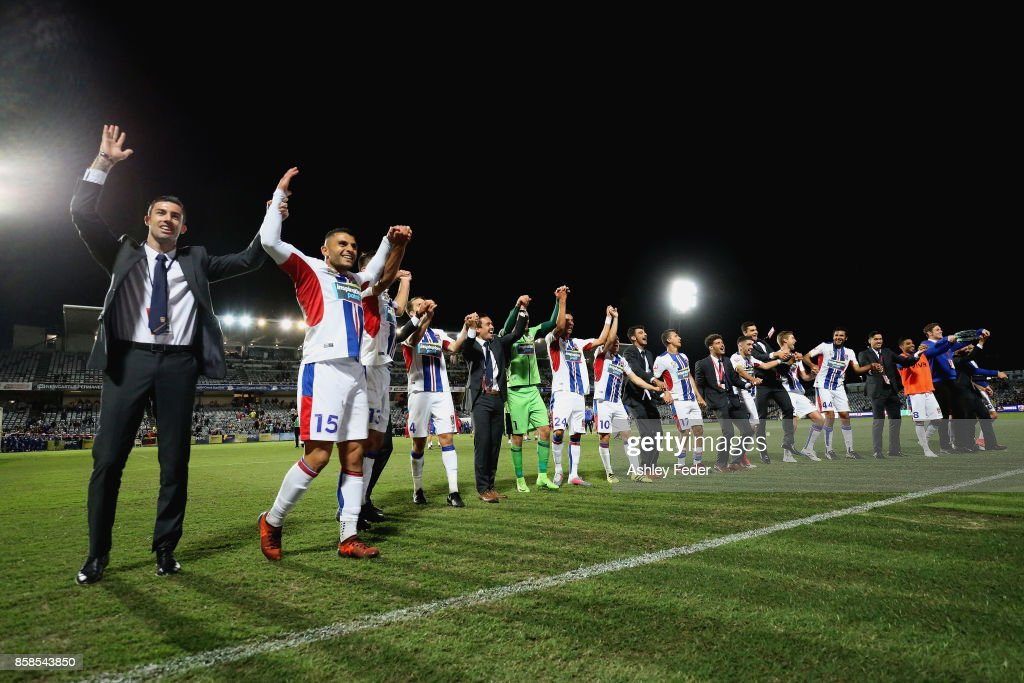 Newcastle Jets team celebrates the win during the round one A-League match between the Central Coast Mariners and the Newcastle Jets at Central Coast Stadium on October 7, 2017 in Gosford, Australia.