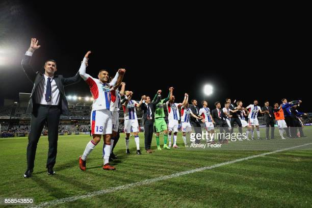 Newcastle Jets team celebrates the win during the round one ALeague match between the Central Coast Mariners and the Newcastle Jets at Central Coast...