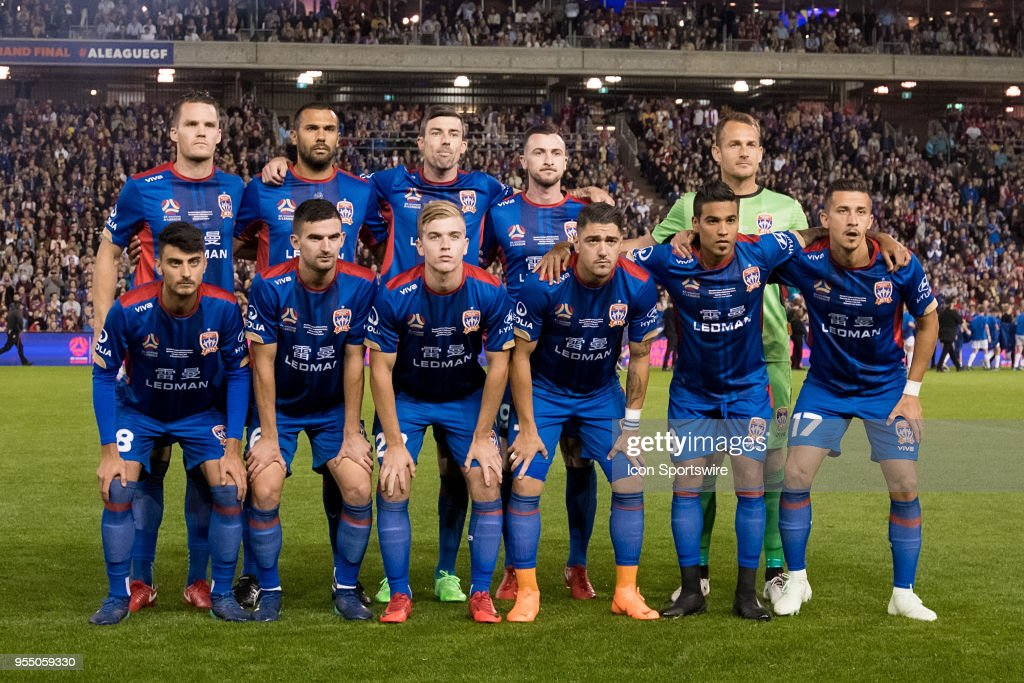 Newcastle jets team photo at the A-League Grand Final Soccer Match between Newcastle Jets and Melbourne Victory on May 5, 2018 at McDonald Jones Stadium in Newcastle, Australia.
