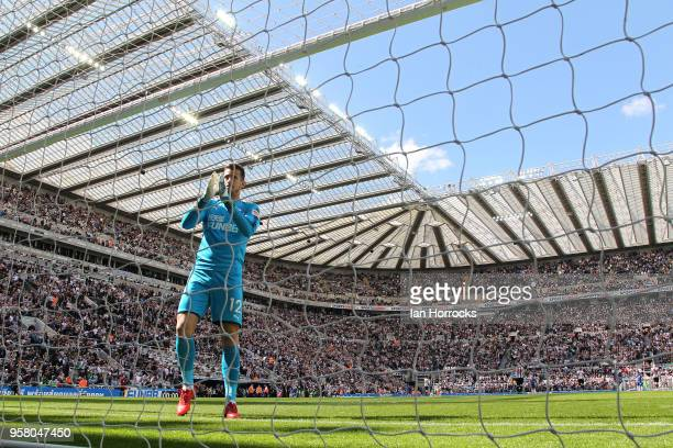 Newcastle keeper Martin Dubravka applauds the fans during the Premier League match between Newcastle United and Chelsea at St James Park on May 13...