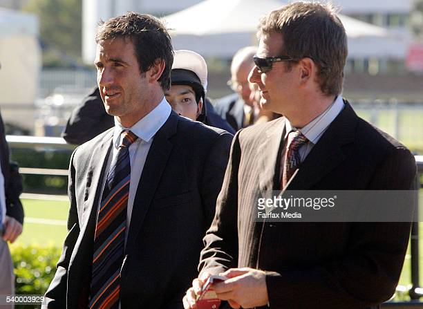 Newcastle Knights player Andrew Johns , with trainer Kris Lees, at Rosehill Racecourse to see his racehorse Onion, which he co-owns with Eddie...