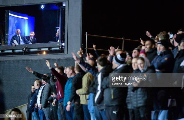 Newcastle Legend Alan Shearer smiles in the recording studio as the Newcastle fans chant his name during the FA Cup Fourth Round Replay match between...