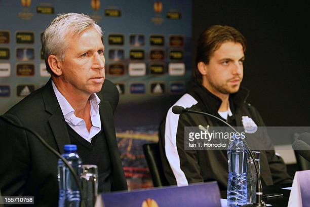 Newcastle manager Alan Pardew and goalkeeper Tim Krul attend a Newcastle United Press Conference at the Jan Breydel Stadium on November 07 in Brugge,...