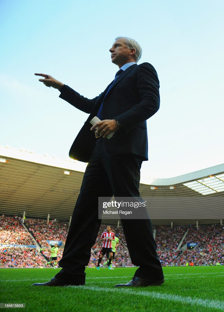 Newcastle manager Alan Pardew gestures during the Barclays Premier League match between Sunderland and Newcastle United at the Stadium of Light on October 21, 2012 in Sunderland, England.