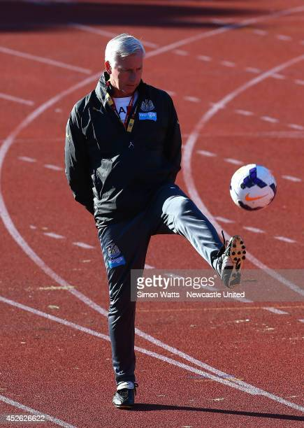 Newcastle manager Alan Pardew kicks during a Newcastle United training session at Newtown on July 25 2014 in Wellington New Zealand