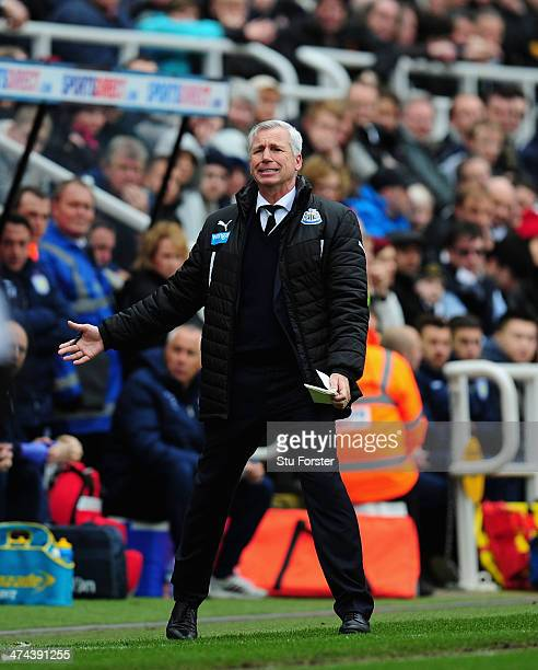 Newcastle manager Alan Pardew reacts during the Barclays Premier League match between Newcastle United and Aston Villa at St James' Park on February...