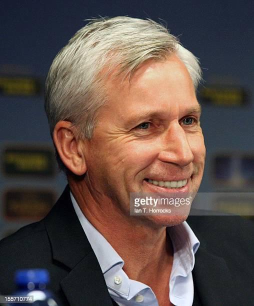 Newcastle manager Alan Pardew speaks during a Newcastle United Press Conference at the Jan Breydel Stadium on November 07 in Brugge, West Vlaanderen....