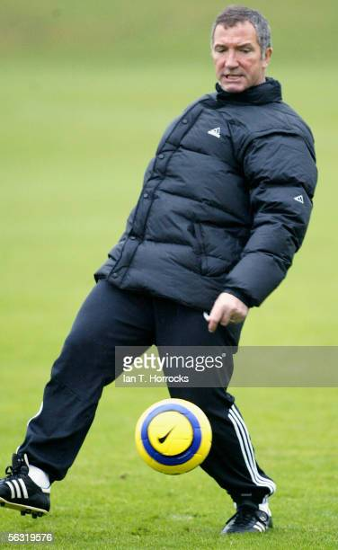 Newcastle manager Graeme Souness in action during a training session December 2 2005 in Newcastle England