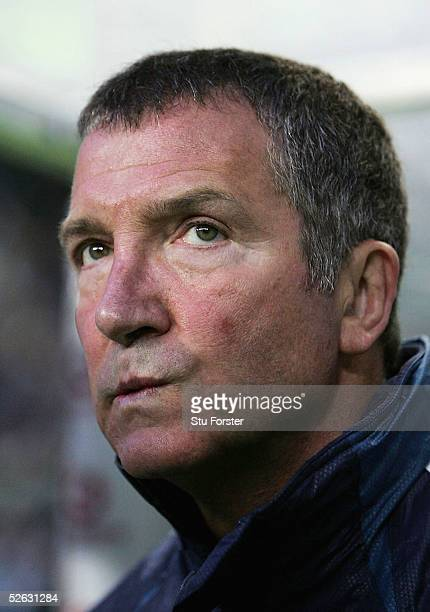Newcastle manager Graeme Souness looks glum before the UEFA Cup Quarter Final second leg match between Sporting Lisbon and Newcastle United at Jose...