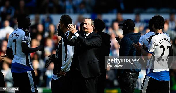 Newcastle manager Rafa Benitez applauds the fans after the Premier League match between Newcastle United and Tottenham Hotspur at St James' Park on...