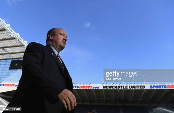 Newcastle manager Rafa Benitez arrives at the ground before the Premier League match between Newcastle United and Leicester City at St. James Park on...