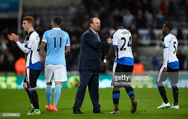 Newcastle manager Rafa Benitez congratulates Chieck Tiote after the Barclays Premier League match between Newcastle United and Manchester City at St...