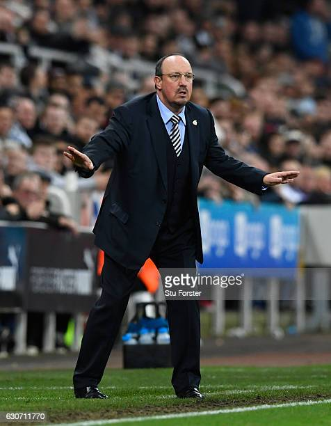 Newcastle manager Rafa Benitez reacts during the Sky Bet Championship match between Newcastle United and Nottingham Forest at St James' Park on...