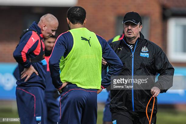 Newcastle Manager Rafael Benitez gives instructions to players during the Newcastle United training session at The Newcastle United Training Centre...