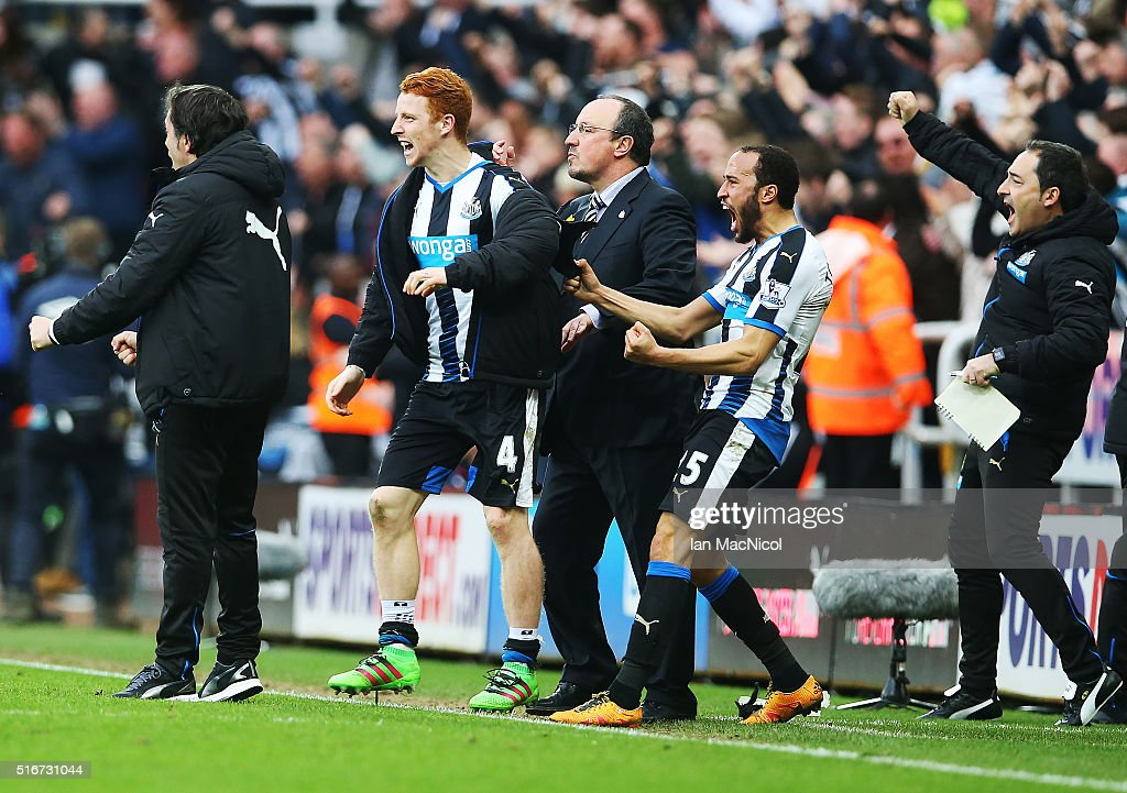 Newcastle manager Rafael Benitez, Jack Colback and Andros Townsend all celebrate as their team score during the Barclays Premier League match between Newcastle United and Sunderland at St James Park on March 20, 2016 in Newcastle, England.