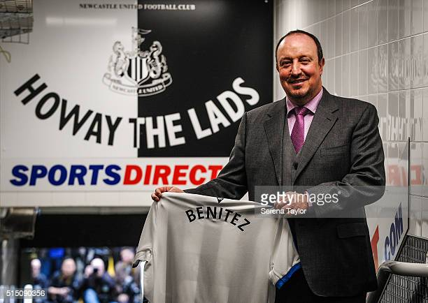 Newcastle Manager Rafael Benitez stands in the tunnel holding a named home shirt during his first Newcastle United Press Conference at StJames' Park...