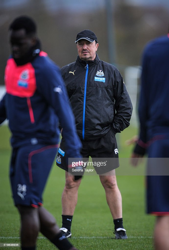 Newcastle Manager Rafael Benitez watches during the Newcastle United Training session at The Newcastle United Training Centre on April 8, 2016 in Newcastle upon Tyne, England.