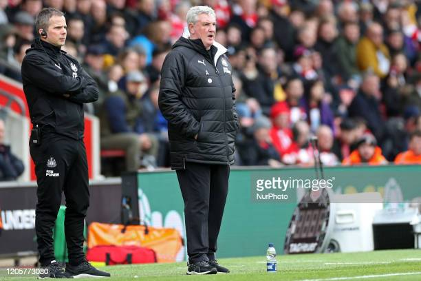 Newcastle Manager Steve Bruce during the Premier League match between Southampton and Newcastle United at St Mary's Stadium Southampton on Saturday...