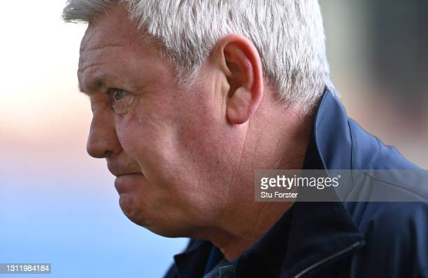 Newcastle Manager Steve Bruce faces the media after the Premier League match between Burnley and Newcastle United at Turf Moor on April 11, 2021 in...