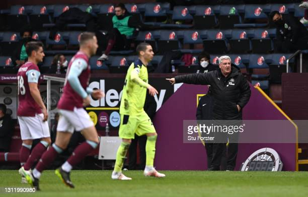 Newcastle Manager Steve Bruce reacts on the touchline during the Premier League match between Burnley and Newcastle United at Turf Moor on April 11,...